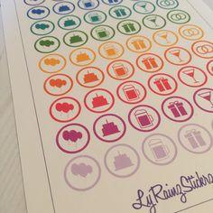 54 Party/Celebration Icon Stickers for Passion Planner, Erin Condren, Happy Planner, Filofax, Bujo, Kikkik...etc by LyRainzStickrzNStuff on Etsy