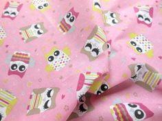 Tkanina sowy sówki różowy bawełna pościel zasłonki 17 zł  za 1 metr