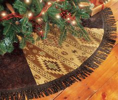 Western tree skirt tooled leather, fringe, beads; handmade in Texas