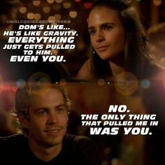 Brian O'Conner and Mia Toretto in The Fast and The Furious.