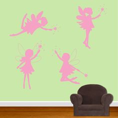 Fairy Pixie Wall Decals Vinyl Set of 4. $30.00, via Etsy.