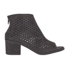 This trendy peep toe bootie compliments any foot