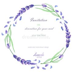 A circle frame, wreath, frame border with the watercolor lavender flowers, wedding invitation. Photo about decoration, illustration, painting, frame, floral, flower, plant - 68957713