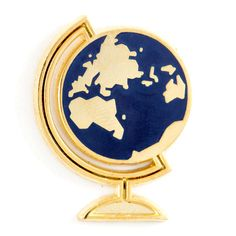 "Let's go everywhere - Gold pin with colored enamel - Rubber backing - Measures 1.25"" tall"