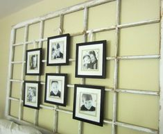 old window photo display - via Remodelaholic   http://www.remodelaholic.com/2014/10/how-to-use-old-windows/4