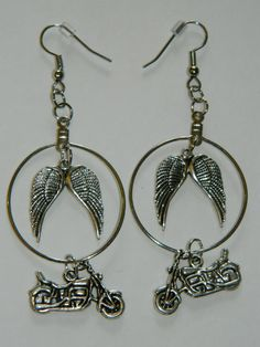 Daryl Dixon Inspired Hoop Dangle Earrings Silver Wings Motorcycle Charms The Walking Dead Zombie Chic Jewelry