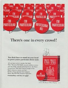 """Description: 1965 PALL MALL CIGARETTES vintage magazine advertisement """"There's one in every crowd!"""" -- You don't have to stand on your head to prove you're particular about taste. All you have to do is smoke Pall Mall ... Product of The American Tobacco Company -- Size: The dimensions of the full-page advertisement are approximately 10.5 inches x 13.5 inches (26.75 cm x 34.25 cm). Condition: This original vintage full-page advertisement is in Excellent Condition unless otherwise noted."""