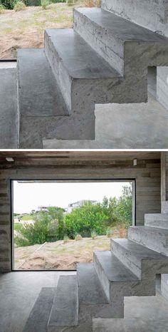 escalier intérieur droit en béton brut pour un design loft industriel moderne