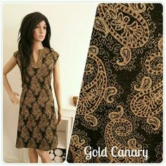 Vintage 60s Black Gold Lurex Paisley Tunic Mini Shift Dress Boho Folk / UK 12 14 / EU 40 42 / US 8 10