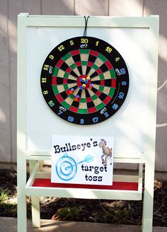 Toy Story party games: Bullseye's Target Toss (magnetic dart game...safe for the kiddos)