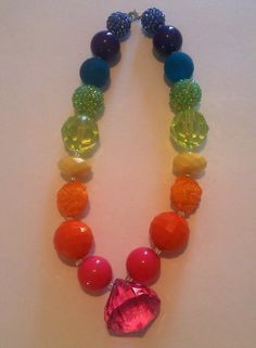 Cute Rainbow Colored Chunky Necklace by scarliesmommy2 on Etsy, $13.50
