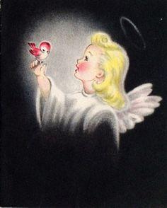Gorgeous Retro Pastel Angel & Bird Christmas card! Black background