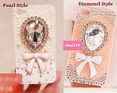 Cute Rabbit Bow DIY Phone Case Deco Den Kit & Free iPhone5 case or iPhone4/4S case. $5.39, via Etsy.