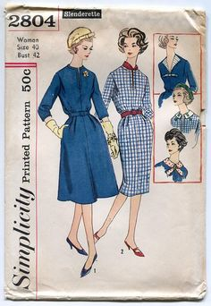 Simplicity 2804 Womens Dress with Two Skirts and Interchangeable Neckwear Vintage Sewing Pattern 1950s Dress has a round neckline with a front seam opening, set-in sleeves and top-stitching detail. Skirts have soft pleats at front waistline edge. Contrasting detachable neckwear is