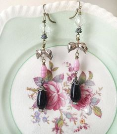débuterhandmade assemblage earrings vintage earrings by Arey