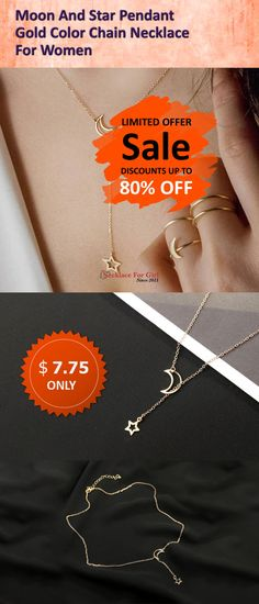Best Moon And Star Pendant Gold Color Chain Necklace For Women Cheap Snake Necklace, Necklace Types, Diy Necklace, Arrow Necklace, Pendant Necklace, Star Pendant, Gold Pendant, Sterling Silver Chains, Gold Chains