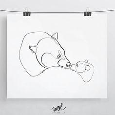 Mamma Bear Gift  Minimal Animal Art  Line Art  Gift for