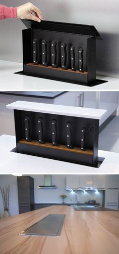 Kitchen Design Idea - Include A Built-In Knife Block | This knife block tucks right into the countertop and pops up when you need it, making it a super safe option and one of the best ways to maximize countertop space.