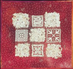 Nine Patch I, Hildegard Braatz with Ursula Schmidt-Troschke. Very old lace fragments and hand-dyed fabric.