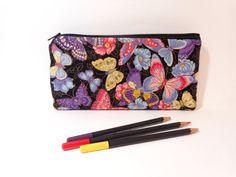 Cotton Pencil Case Zipper Pouch  Butterflies by handjstarcreations, $11.00