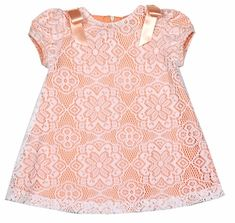 Luli & Me Baby / Toddler Girls Coral Dress - Lace Overlay and Bows on Shoulders