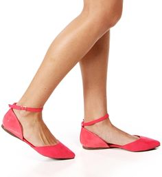 Pink Lemonade Suede/Patent Pointed Flats  *website