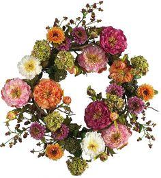 Asstd National Brand Nearly Natural 24 Peony Wreath