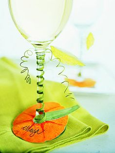 Pumpkin Glass Name Tags