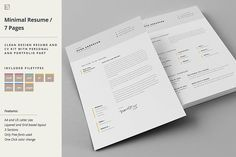 Resume & Cover Letter Template by Egotype on @creativemarket