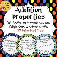 Addition Properties Self Checking Task Cards+ 2 Activities+ FREE Poster Display Teaching addition properties can be challenging, and it could be even more challenging for the students to understand them. Here's a little pack I used during my math centers to teach and then review the 3 addition properties: Associative, Commutative and Identity property.