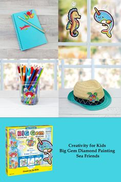Explore the world of diamond painting! This diamond painting kit for kids is perfect for both beginners and children. This kids craft combines two diamond painting activities in one. Decorate your backpacks and journals with 12 diamond art stickers and display 2 diamond painted, under the sea themed suncatchers. This complete arts and crafts kit for kids comes with everything you need to create unique diamond art crafts. Display your suncatchers using the stands or included suction cups. Craft Kits For Kids, Crafts For Kids, Arts And Crafts, Painting Activities, Diamond Paint, Gem Diamonds, Painting For Kids, Suncatchers, Under The Sea