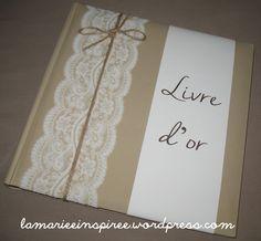 Livre d'or mariage dentelle beige et blanc : Faire-part par la-mariee-inspiree