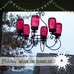 Holiday Mason Jar Decor Chandelier @savedbyloves