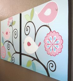 """Nursery Art, Pink and Aqua Brooklyn Birds, Large set of of two 20x20"""" Original Paintings, Made to Order"""