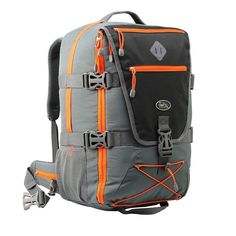 Backpacking Luggage Flight Approved Belt Lightweight Laptop Straps Grey/Orange #BackpackingLuggage