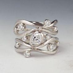 I Love Jewelry Pretty much detest everything else this company designs. Just not my taste. But this diamond ring is interesting. Diamond Jewelry, Jewelry Rings, Silver Jewelry, Jewelry Accessories, Fine Jewelry, Silver Rings, Jewellery Box, Glass Jewelry, Silver Bracelets