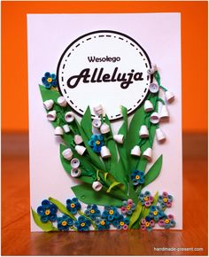 Delicate lily of the valley and subtle forget-me-not at Easter card  Delikatne konwalie i subtelne niezapominajki na wielkanocnej kartce