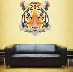 kcik96 Full Color Wall decal Tiger animal geometric abstract living children's bedroom
