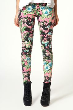 Poppy Multi Floral Neon Tropical Skinny Jeans