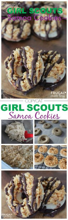 Copycat Girl Scouts Samoa Cookies - Chocolate, Cookie, and Coconut. This recipe and more copycat recipes on Frugal Coupon Living.