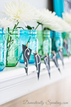 Blue and Green Mason Jars