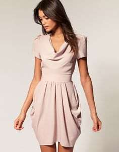 love the color <3 Tulip Dress with Cowl Neck