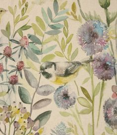Save on our Linen Morning Chorus Contemporary Fabric from Voyage Decoration; perfect for creating Curtains & Blinds. Fabric Blinds, Curtains With Blinds, Curtain Fabric, Linen Curtains, Velvet Curtains, Bird Curtains, Cottage Curtains, Kitchen Window Curtains, Cottage Wallpaper