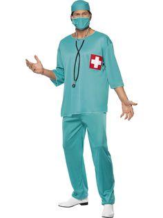 Kirurgi. Kirurgin naamiaisasu on unisex-mallinen, joten sitä voivat kantaa niin miehet kuin naisetkin.