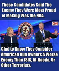 Hillary, Bernie & this guy~~~~~American Rifle Association says MORE GUNS…