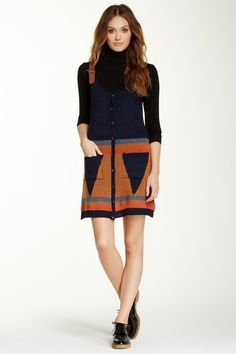 Shoulder Strap Sweater Dress by Double Zero on @HauteLook jumper dress over long sleeve turtleneck