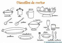 Dibujos para colorear de utensilios de cocina Web del maestro Web del maestro Cocina para niños taller de Material didactico para niños