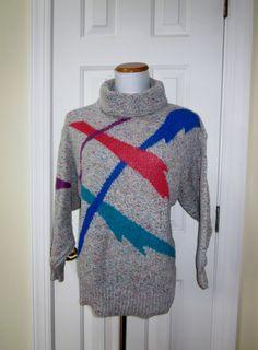 Vintage 80s Turtleneck Sweater Colorful Grey by GroovyGirlGarb, $28.00