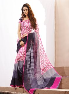 Lovely Pink color printeed saree with new stylist look for new genration lady