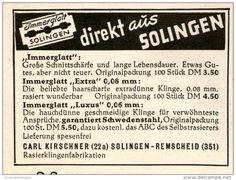 Original-Werbung/Inserat/ Anzeige 1949 - IMMERGLATT RASIERKLINGEN / CARL KIRSCHNER SOLINGEN - ca. 70 X 50 mm